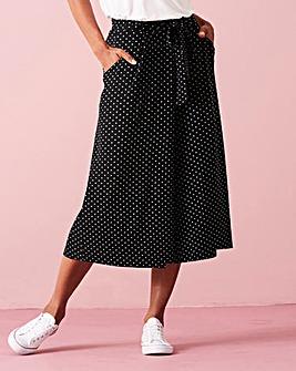Spot Tie Waist Stretch Jersey Culottes