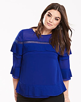 Truly You Pleated Ruffle Blouse
