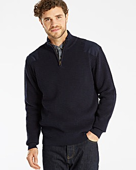 Jacamo 1/4 Zip Patch Jumper Long