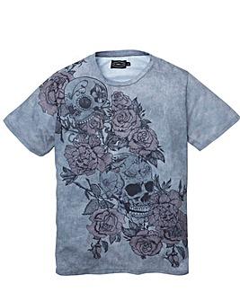 Label J Skull Rose Texture Print Tee
