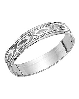9 Carat White Gold Wedding Band