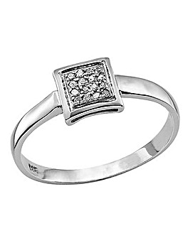 Sterling Silver and Diamond Set Ring