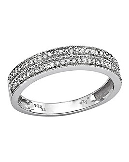 Sterling Silver & Diamond Set Band Ring