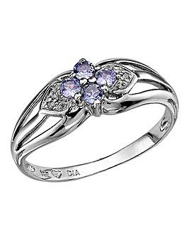 Sterling Silver & Tanzanite Flower Ring
