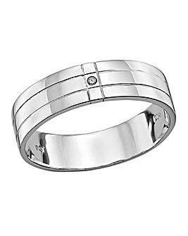 9 Carat White Gold Diamond Gents Ring