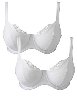 2 Pack Lucy Full Cup Wired White Bras