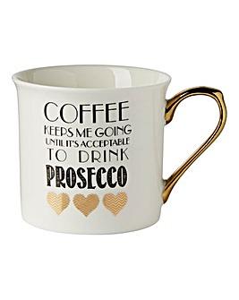 Coffee Prosecco Gold Glittered Mug