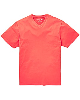Capsule Coral V-Neck T-shirt L