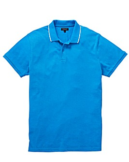 Capsule Blue Short Sleeve Tipped Polo L