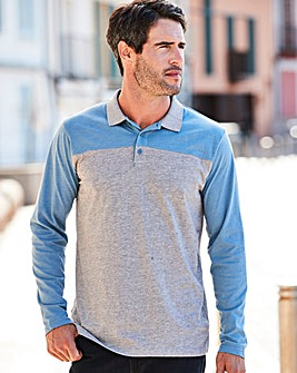 W&B Grey Long Sleeve Block Polo R