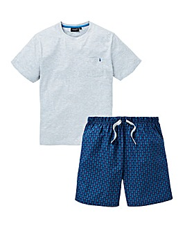 Capsule Navy Printed Shorts PJ Set