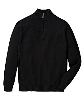 Capsule Black 1/4 Zip Cotton Jumper L
