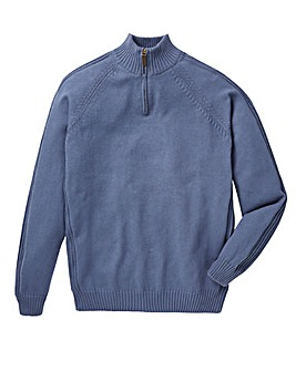 Capsule Denim 1/4 Zip Cotton Jumper L