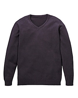Capsule Charcoal V-Neck Cotton Jumper L