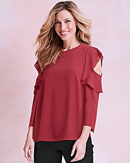 Cherry Frill Cold Shoulder Blouse