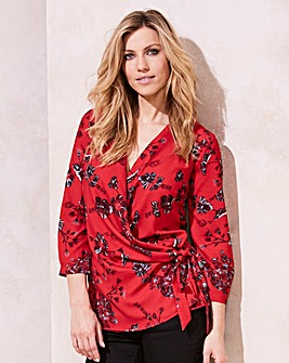 Red Prnt Wrap Tie Blouse With 3/4 Sleeve