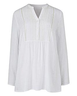 White Burn Out Check Pintuck Shirt