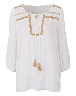 IvoryBeaded Crinkle Blouse With Tie Neck