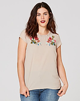 Stone Embroidered Shell Top