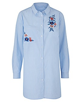 Blue StripeLong Sleeve Embroidered Shirt
