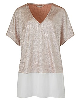 Soft Pink Colourblock Foil Tunic