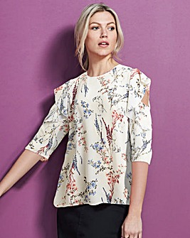 Multi Floral Frill Cold Shoulder Blouse
