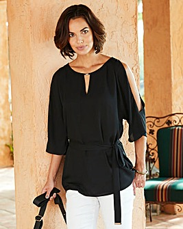 Black Split Sleeve Top With Tie Belt