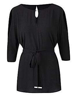 Black Split Sleeve Top With Tie Belt