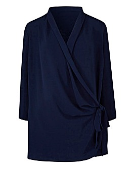 Indigo Wrap Tie Blouse With 3/4 Sleeve