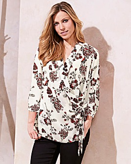 Ivory Wrap Tie Blouse With 3/4 Sleeve