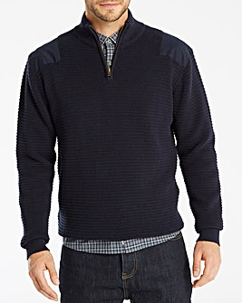 Jacamo 1/4 Zip Patch Jumper Regular