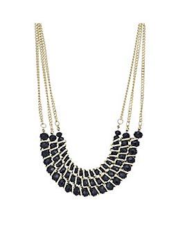 Mood Black crystal bar necklace