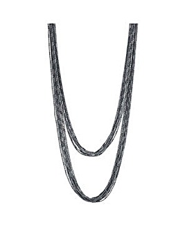 Mood Silver chain multi row necklace
