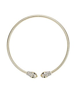 Mood Gold pave snake collar necklace