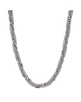 Mood Silver bead mesh twist necklace