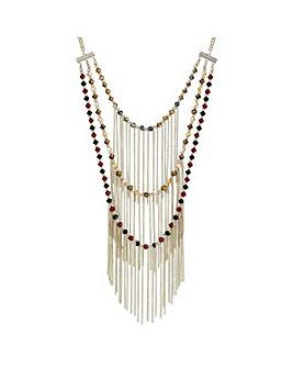Mood Triple row beaded fringe necklace
