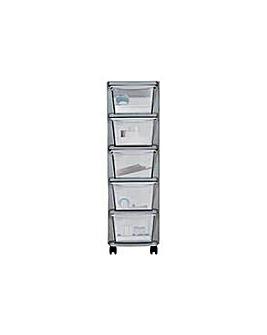 5 Drawer Plastic Slim Tower Storage Unit