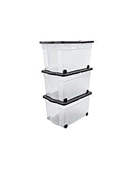 65L Wheeled Plastic Storage Box-Set of 3