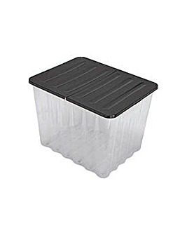 110L Plastic Storage Crate and Black Lid
