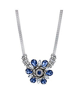 Mood Blue crystal flower necklace