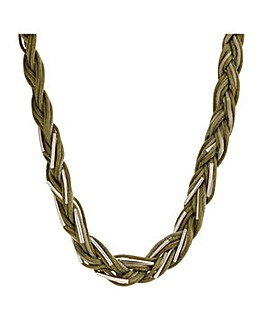 Mood Khaki plaited necklace