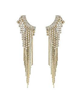 Mood Gold diamante cuff earring set