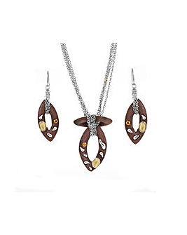 Wooden Look Pendant and Earring  Set