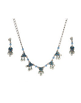 Blue Beaded Crystal Pendant and Earrings