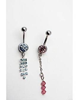 Two Piece Crystal Navel Bar Set