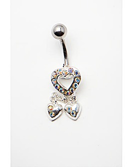 Silver Mini Heart Dropper Navel Bar