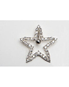 Large Silver Star Navel Bar