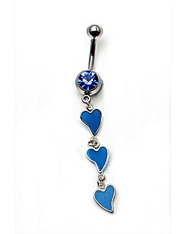 Triple Blue Heart Drop Navel Bar