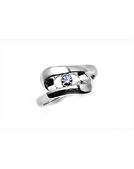 Rhodium Blue Cubic Zirconia Ring