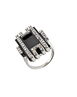 Silver Onyx & Marcasite Ring